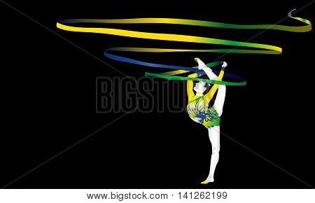 Female gymnast making waves with his tie yellow-green and blue. Vector image