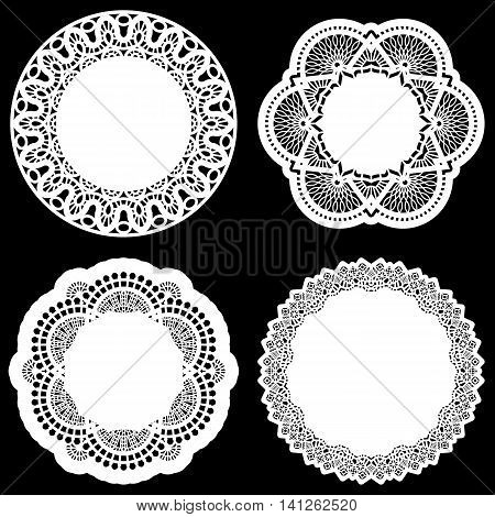 Set of design elements lace round paper doily doily to decorate the cake template for cutting greeting element vector illustrations
