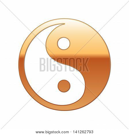 Gold Yin Yang symbol icon on white background. Vector Illustration