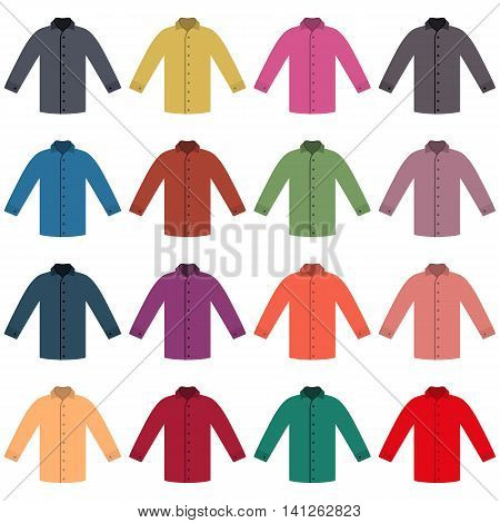 Set of sixteen in a flat style color shirts isolated on white background design element outerwear and article of clothing vector illustration.