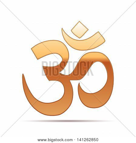 Gold sign Om. Symbol of Buddhism and Hinduism religions icon on white background. Vector Illustration