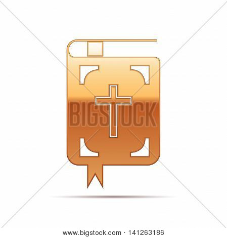 Gold Bible icon on white background. Vector Illustration