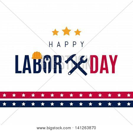 Happy Labor Day Greetings Cards Design Poster, Banner, Brochure, Flyer. Wrench And Hammer Icon With