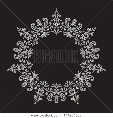 Elegant luxury vintage circle silver floral frame on black background. Refined hand drawn border template for greeting card, postcard, invitation, banner, flyer, poster. Vector illustration.