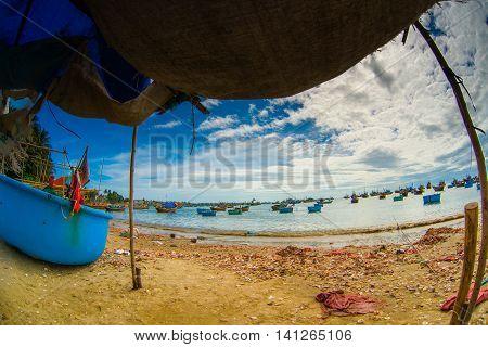 A Lot Of Boats On The Sea, Fishing In Fish Village, Mui Ne, Vietnam
