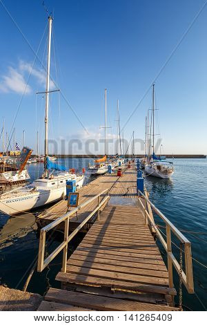 Chania, Crete - 23 Maj, 2016: Marina In Chania On Crete, Greece. Chania Is The Second Largest City O