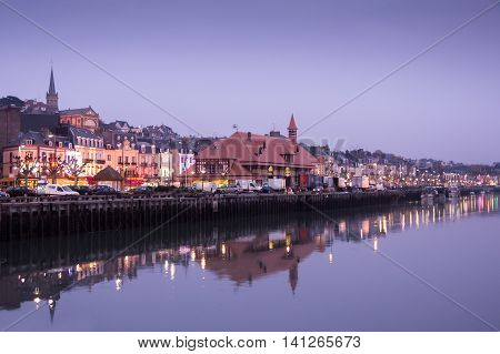 norman town of trouville france romantic scene of french small town