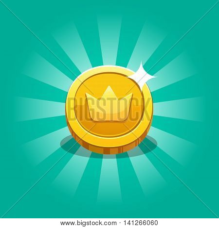 Icon Coin For The Game Interface. Receiving The Cartoon Treasure. Vector Illustration. Eps 10