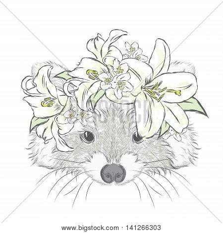 Beautiful raccoon wearing a wreath of lilies and jasmine.