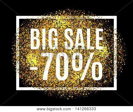 Gold Glitter Background Big Sale 70% Percent Off Sale Promotion Tag. New Year, Christmas Shop Offer.