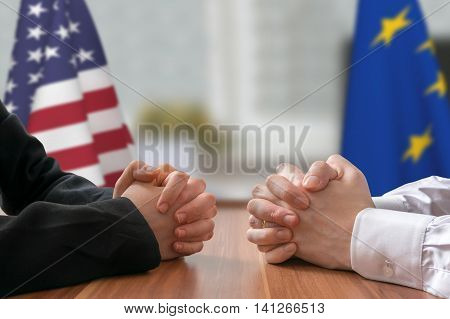 Negotiation Of Usa And European Union. Statesman Or Politicians