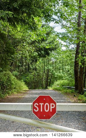 Gravel road through the woods with white gate and stop sign