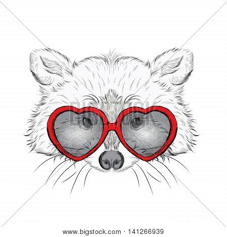 A Raccoon wearing a tie and glasses