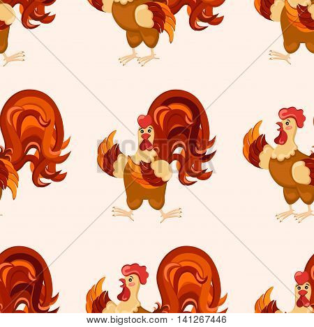 Cock pattern. Cartoon style. Rooster set vector illustration. Vector image of a cock.