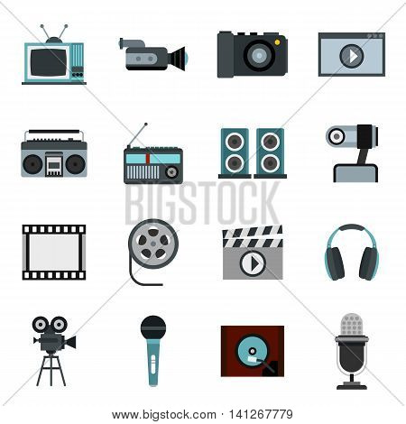 Flat video icons set. Universal video icons to use for web and mobile UI, set of basic video elements isolated vector illustration