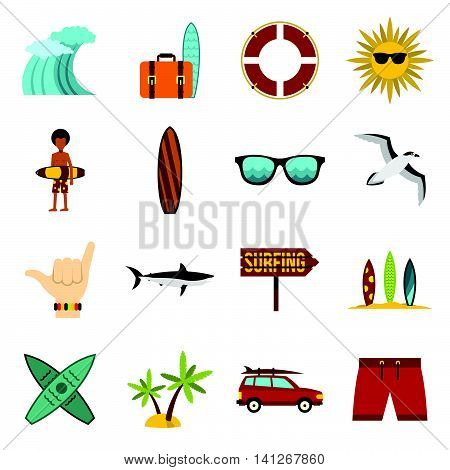 Flat surfing icons set. Universal surfing icons to use for web and mobile UI, set of basic surfing elements isolated vector illustration