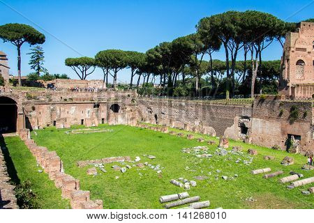 the ruins of the Stadium in the Domitian Imperial palace on the Palatine Hill in Rome Italy