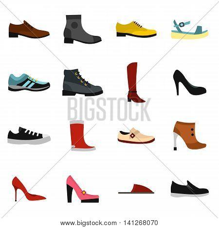 Flat shoe icons set. Universal shoe icons to use for web and mobile UI, set of basic shoe elements isolated vector illustration