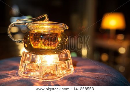 Glass Teapot With Candle Heater;