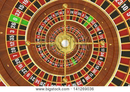 Spiral Casino Roulette movement illusion 3D rendering