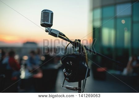 Close Up Shot Of Musical Microphone;