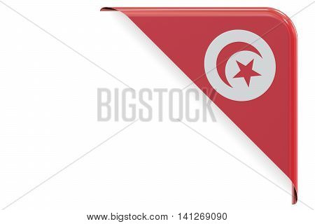 Tunis flag corner button label. 3D rendering isolated on white background