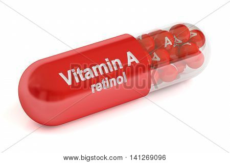 Vitamin A capsule 3D rendering isolated on white background