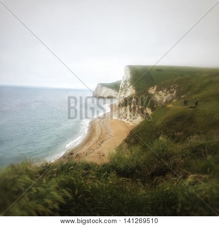 Durdle Dor on a misty cloudy day