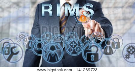 Corporate manager in blue suit pushing the acronym RIMS on an interactive touch screen interface. Business metaphor and information technology concept for Remote Infrastructure Management Services.
