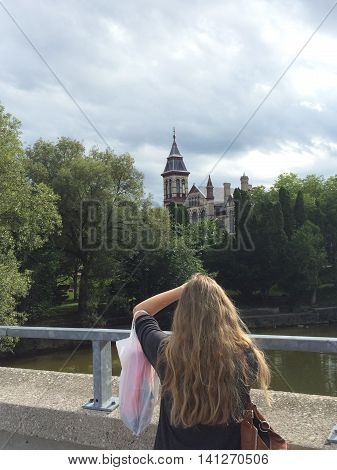 Canada,August 3, 2015,Stratford,ON, View from  Avon River Bridge with  Young Girl