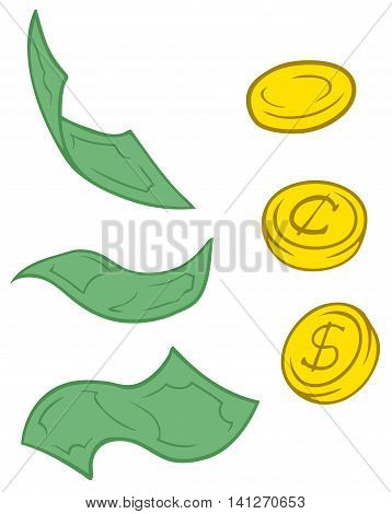 A vector illustration set of cartoon greenback and coins
