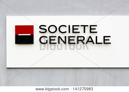 Nantes, France - June 25, 2016: Societe Generale is a French multinational banking and financial services company headquartered in Paris