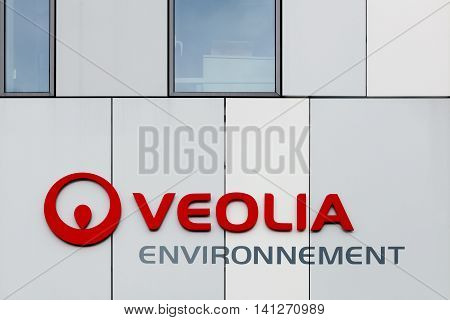 Nantes, France - June 25, 2016: Veolia Environment branded as Veolia, is a French transnational company with activities in three main service, water management, waste management and energy services