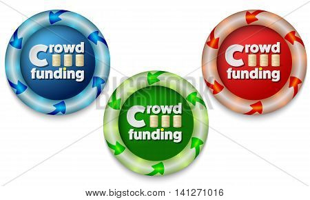 Three icons with color back light and the words crowd funding