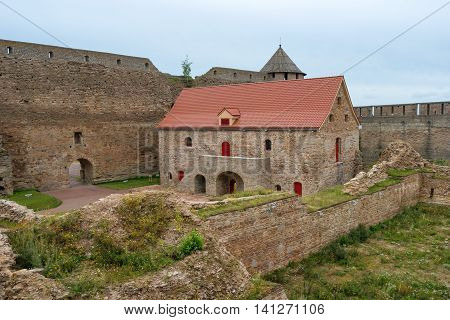 Russian medieval castle in Ivangorod. Located on the border with Estonia, not far from St. Petersburg. The photo shows a powder magazine. Photographed on a cloudy day.