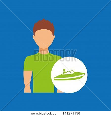 man practicing parachute icon , vector illustration design