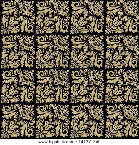 Seamless oriental ornament in the style of baroque. Traditional classic pattern. Black and golden pattern. Oriental fine pattern. Asian pattern