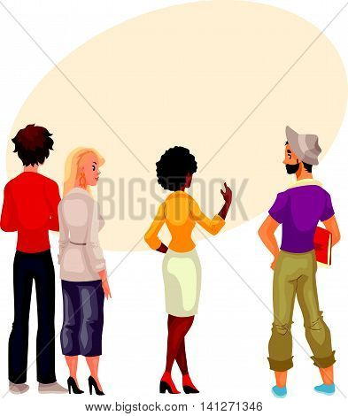 People stand with his back to audience and are looking forward to something, cartoon vector. group of people standing with his back to us and look carefully where could be your sign and advertising