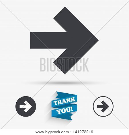Arrow sign icon. Next button. Navigation symbol. Flat icons. Buttons with icons. Thank you ribbon. Vector