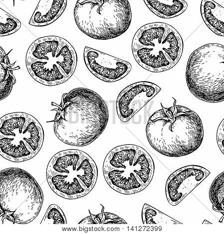 Vector tomato seamless pattern drawing. Isolated tomatoes and sliced pieces. Vegetable engraved style illustration. Detailed vegetarian food drawing background. Farm market product.