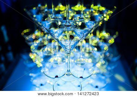 beautiful catering bar; stylish martini glasses pyramid;