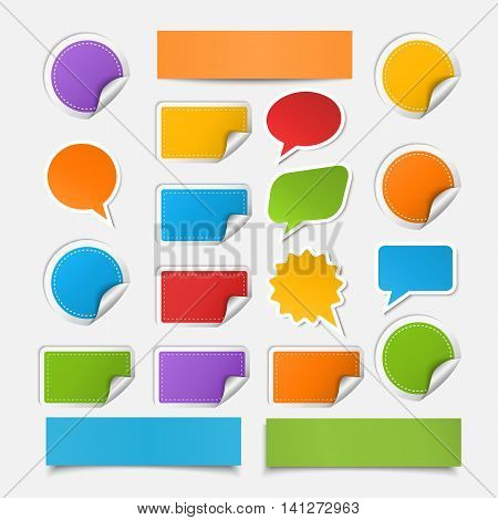 Vector set realistic colorful paper sheet , speech bubles, stickers, banner with different shadow isolated on a white background