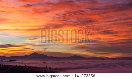 Sunrise view from west Vancouver BC Canada