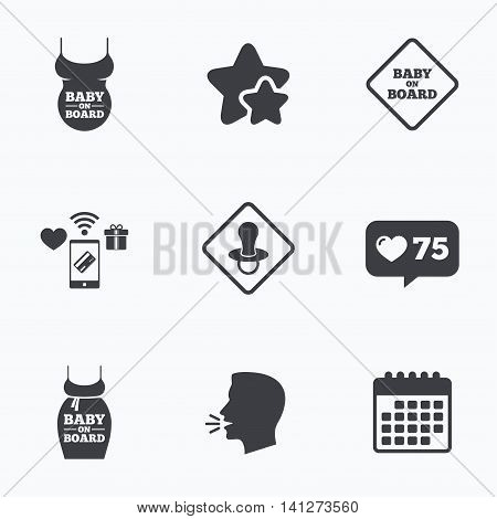 Baby on board icons. Infant caution signs. Child pacifier nipple. Pregnant woman dress with big belly. Flat talking head, calendar icons. Stars, like counter icons. Vector