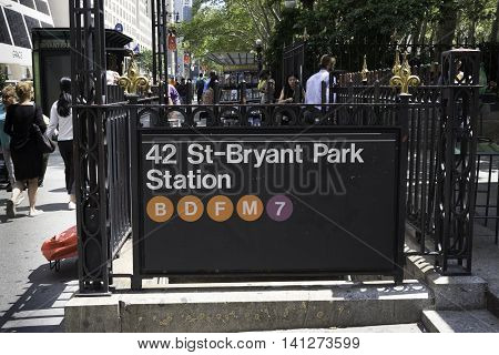 New York NY USA -- Aug 3 2016 Bryant Park Entranceway to the New York City subway system. Editorial Use Only