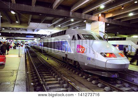 Paris France - June 16 2010: TGV train stands on Montparnasse railway station.