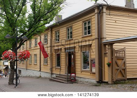 Lappeenranta Finland - 29 July 2016: House-museum Volkov merchants. Wolkoffin talomuseo - one of the oldest in the city. The two-storey house lived four generations of Russian merchant family Volkov.