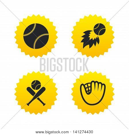 Baseball sport icons. Ball with glove and two crosswise bats signs. Fireball symbol. Yellow stars labels with flat icons. Vector