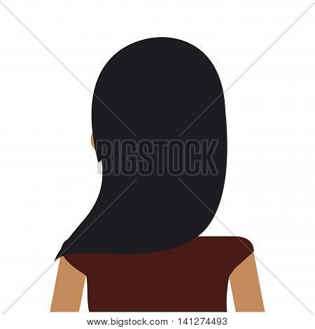 flat design woman rearview icon vector illustration
