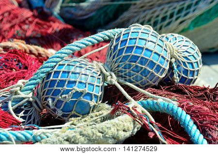 fishing nets in the port of Genoa, Liguria, italy